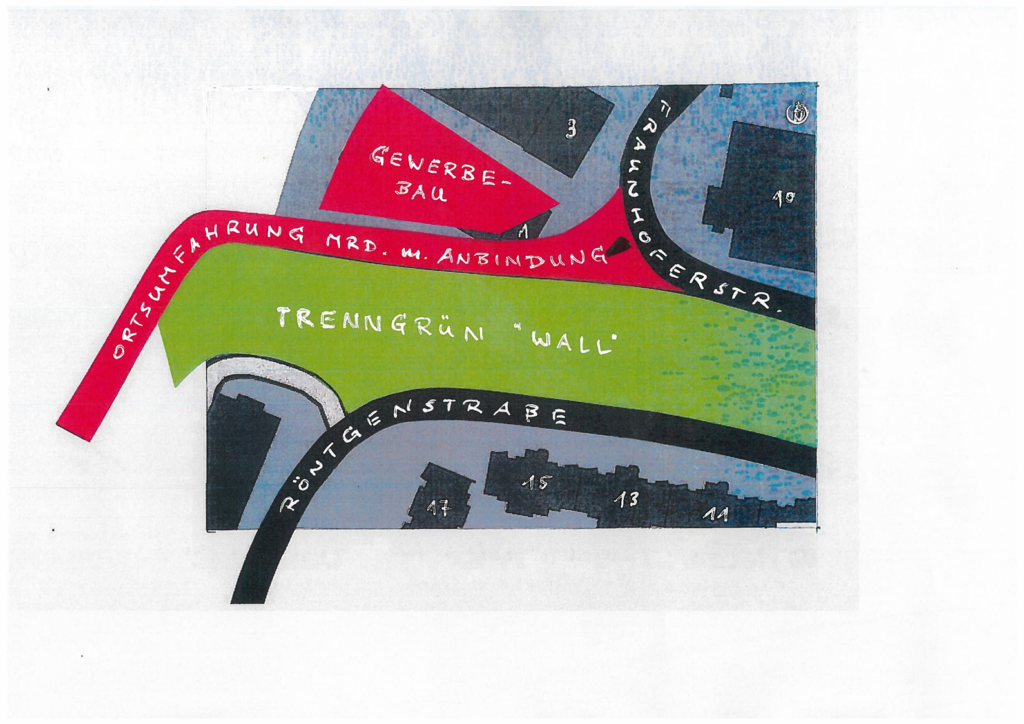 Skizze zum Wall bzw der Ortsumfahrung